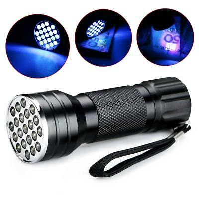 21LED UV Ultra Violet Flashlight 395nm Mini Black Aluminum Torch Light Lamp TW