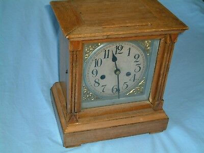 "Antique Light Oak 11"" BRACKET CLOCK CASE With Hechlinger Quartz Movement Working"