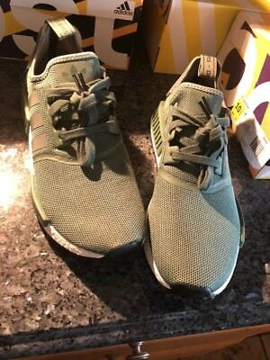 save off 2436c 0f62a BY9692 Adidas NMD R1 TRACE GREEN OLIVE CARGO WHITE BOOST SHOES NOMAD MENS SZ  10