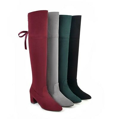 Ladies Winter Pointed Toe Moccasin Knee High Boots Girls Block Heel Casual Shoes