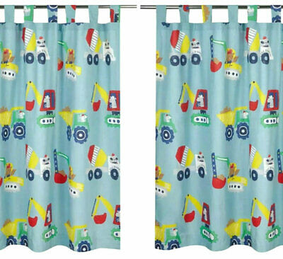 BOYS BLUE TRANSPORT Workman Lined Bedroom Curtains - Lorry ...