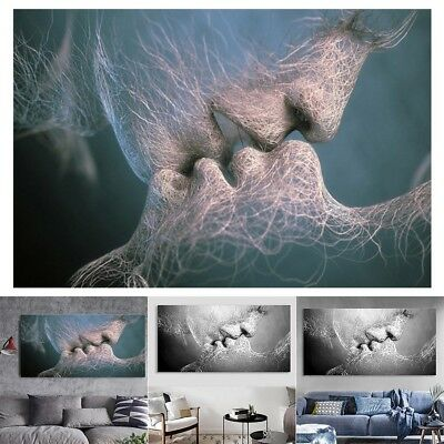 Wall Decor Black Love Kiss Abstract Painting Canvas Painting Wall Art for Parlor