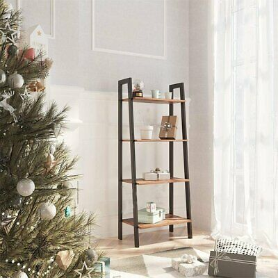 Wooden Ladder Shelving Unit 4 Tier Display Stand Book Shelf Wall Rack Storage