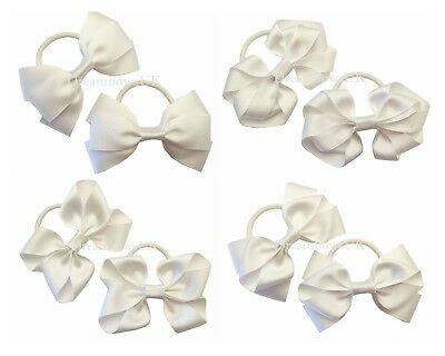 White grosgrain ribbon hair bows on thick bobbles or clips, hair accessories