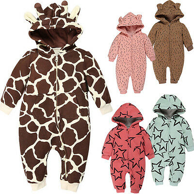 Newborn Baby Boys Girl Zip Romper Hooded Coat Outwear Jumpsuit Tops Warm CH