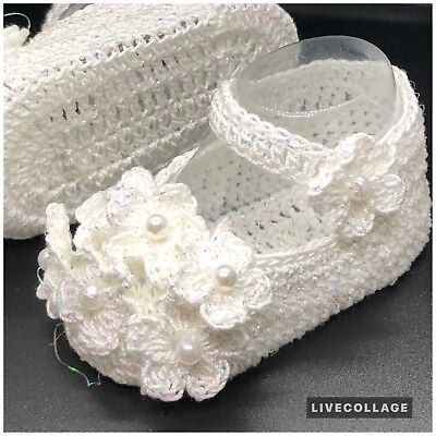 Baby Girl Handmade Crochet Shoes Crib Pearl Shoes White Newborn