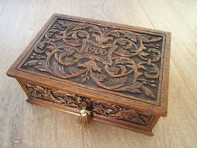 Terrific 19C Hand Carved Dated 1906 Antique Jewellery Box - Fab Interior
