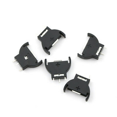 5Pcs Cr2032/Cr2025 Half-Round Battery Coin Button Cell Socket Holder Case Black@