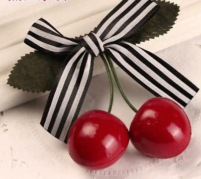 Cute Lovely Sweet Girl Kids Retro Vintage Pink Bow Cherry Hair Clip Hairpin KS
