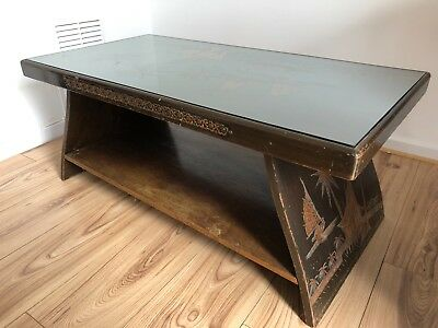 Vintage Hand Carved Wood Coffee Table Oriental Chinese Scene