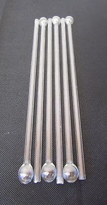 Vintage 1960s Set 6 Clear Glass Drinking Straws Reusable Washable Eco Friendly