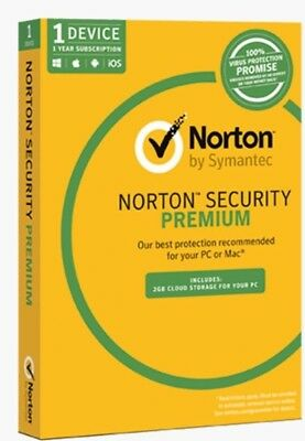 Norton Security Premium 1 PC / 2018 - 1 YEAR | Digital Download |100% GENUINE |