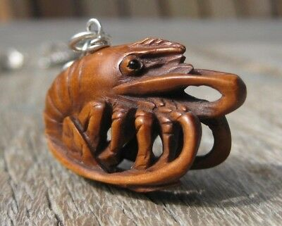 "Hand Carved Boxwood OJIME Bead CHARM Fully 3-D Detailed LOBSTER 1 1/4"" x 3/4"""