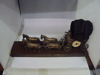 United Horse and Carriage Electric Mantle Clock Lamp Covered Wagon  X-346