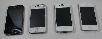 4 Lot Apple iPhone 4 GSM - For parts - No Power, No Backs