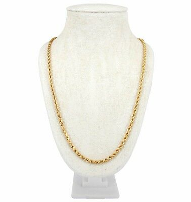 "Mens Rope Chain Necklace 4mm 14k Gold Plated 20"", 22"", 24"", 26"", 30"" inch"