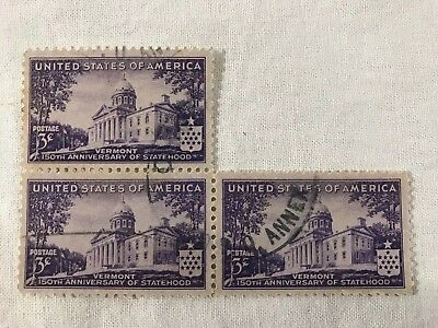 Sc #903 1941 3 Cent US Vermont 150th Anniversary Statehood Stamp Lot Of Three