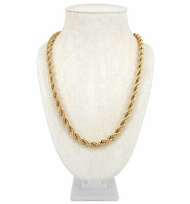 "Mens Rope Chain Necklace 6mm 14k Gold Plated 20"", 22"", 24"", 26"", 30"" inch"