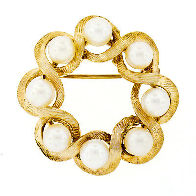 Vintage Textured 14k Yellow Gold 4.8mm Round 8 Cultured Pearl Wreath Brooch Pin