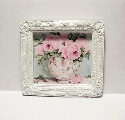 Miniature Framed Picture Pink Shabby Chic Roses & Vase Painting Dollhouse Diggs