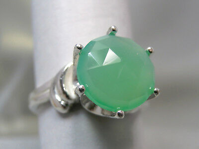 CHRYSOPRASE - Sea-Green Rose-cut Faceted .925 Sterling Silver Ring 2.86ctw.