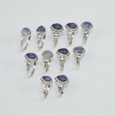WHOLESALE 11PC 925 SOLID STERLING SILVER PURPLE AMETHYST RING LOT CD702