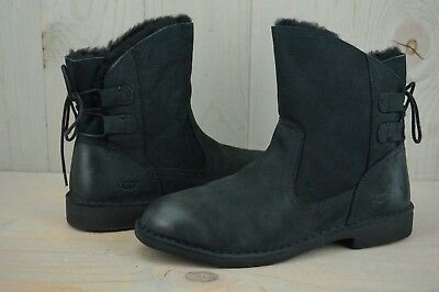 300d91b9a6a UGG NAIYAH 1019164 Black Leather Corset Back Ankle Boots Womens Us 11 Nib