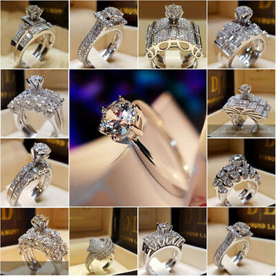 White Sapphire Birthstone 925 Silver Filled Wedding Bridal Ring Gift Size 5-11