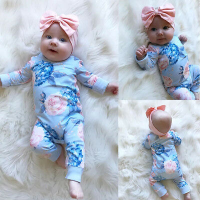 2Pcs Newborn Baby Girl Floral Romper Jumpsuit Cotton Bodysuit Clothes Outfit Set