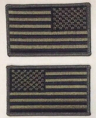 American Flag Patches iron on backing United States Olive Drab OD Green LOT two