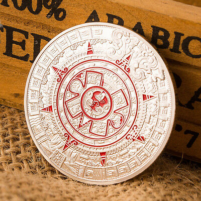 Silver Plated Mayan Aztec Prophecy Calendar Commemorative Coin CollectionGift&&