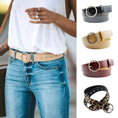 New Women's Leather Casual Dress Plain Solid Colors Belt Silver Buckle Ladies
