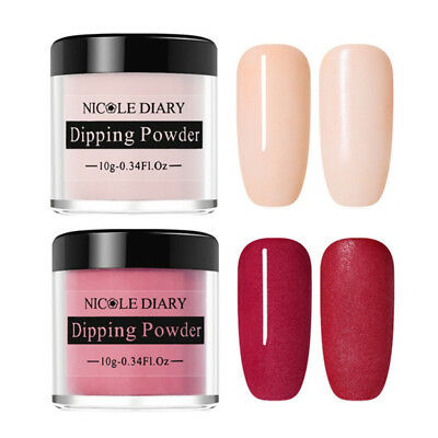 2 Boxes NICOLE DIARY 10g Nail Art Dipping System Powder Natural Dry Nude Red