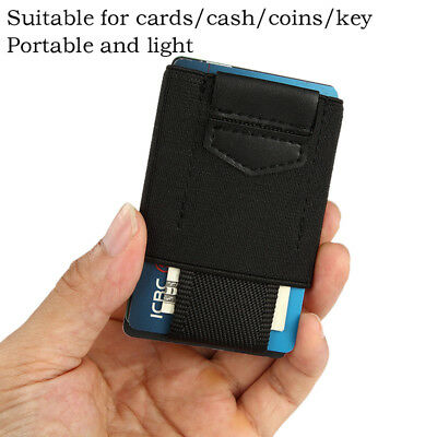 Front Pocket Minimalist EDC Slim Wallet 15Card Holders for Men Cash Coins Key LE