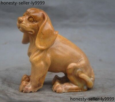 Old Chinese natural Shoushan Stone pure Hand carved dog Dogs animal statue