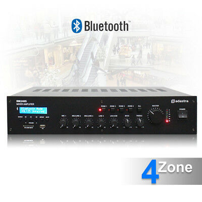"""5 Channel 100v Line 4 Zone Mixer Amplifier Bluetooth 19"""" Background Music System"""