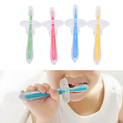 New Silicone Kids Teether Training Toothbrush Infant Newborn Brush Tool LE