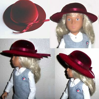 "Grt Burgundy Velvet Hat 14 inch head grt for 24"" Fashion doll+ 18 19""other Dolls"