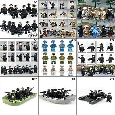 1 Set SWAT Teams Figure City Police Weapon Model / 1x Rubber Raft Toy Kids Gifts