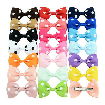 20Pcs Baby Girls Dot Hair Bows Band Boutique Alligator Clip Grosgrain Ribbon LE