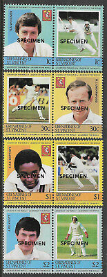 ST.VINCENT GRENADINES 1984 (1st) CRICKETERS 4 Pairs Overprint SPECIMEN MNH