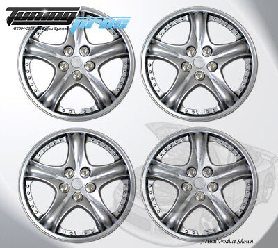 """14/"""" Inch #888 Hubcap Silver 4pc Qty 4 Pop On Wheel Cover Rim Skin Cover"""