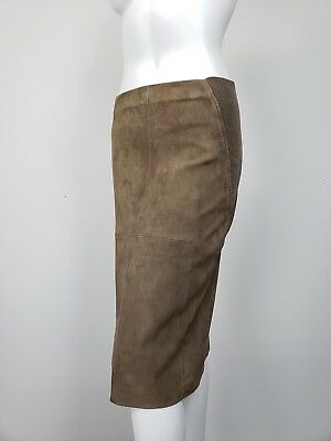 850630856fd BRUNELLO CUCINELLI Brown Suede Ribbed Cashmere Knit Sides Skirt IT 44 US 8