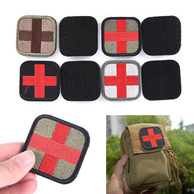 Outdoor Survival First Aid PVC Red Cross Hook Loop Fastener Badge Patch 5×5cm LE