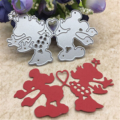 Cute Heart Mouse Toy Doll Metal Cutting Dies Scrapbook Cards Photo Album@@