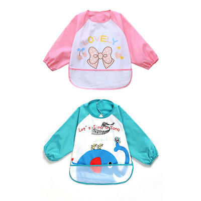Baby Toddler Kids cute Long Sleeve Waterproof Feeding Art Apron Bib Smock