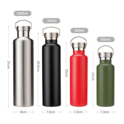 500/600/750/1000ML Vacuum Thermo Bottle Stainless Steel Insulated Water Bottle