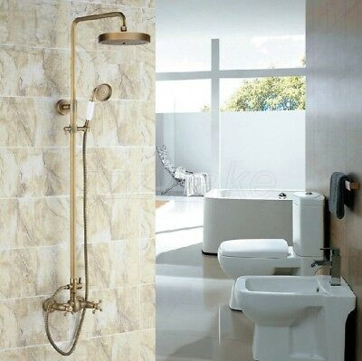 Antique Brass Wall Mounted Bathroom Shower Faucet Set Double Cross Handle Zrs092