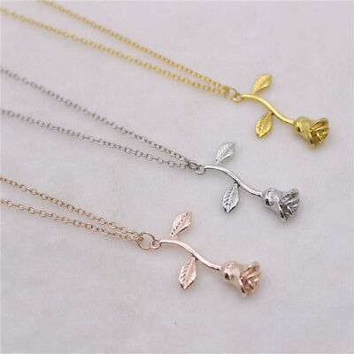 Gold Plated Rose Flower Pendants Necklaces Fashion Chain Statement Jewelry Gifts