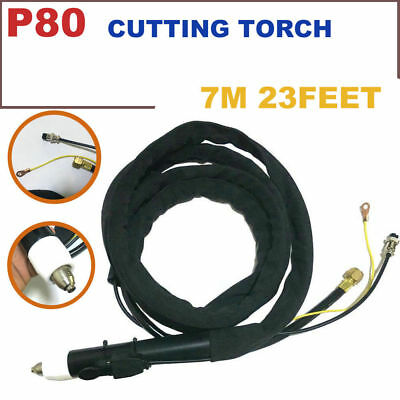P80 P-80 Plasma Cutting Straight Pencil Head Body Torch Kit Complete 23Feet & 7M